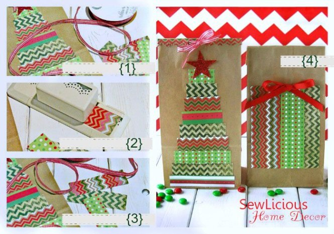 DIY Christmas Tree Decorated Paper Bags at sewlicioushomedecor