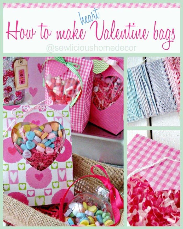 How to make heart Valentine treat bags at sewlicioushomedecor.com