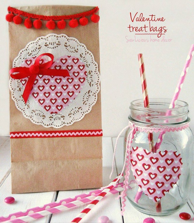 Valentine Treat Bags and matching mason jars at sewlicioushomedecor.com