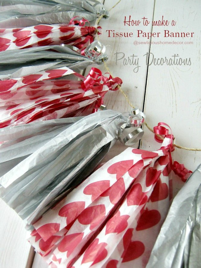How To Make Tissue Paper Banners Tutorial with Tassels for Party Decoration sewlicioushomedecor.com