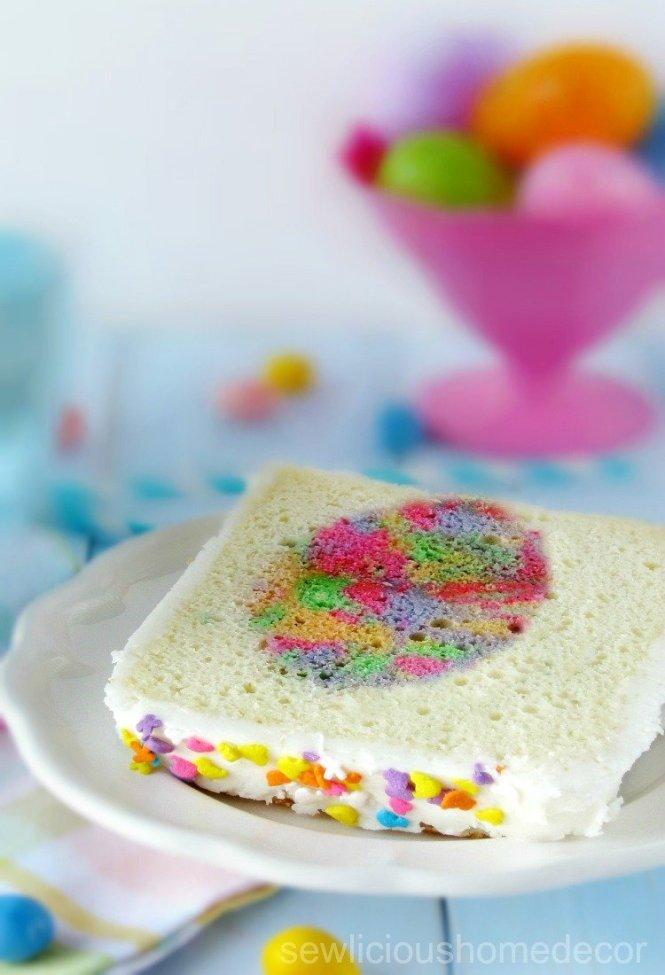 Tie Dye Easter Egg Inside Cake Dessert sewlicioushomedecor.com
