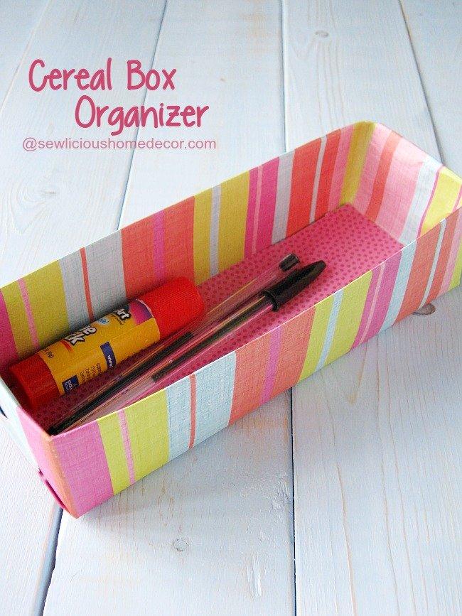 Cereal Box Organizer at sewlicioushomedecor.com