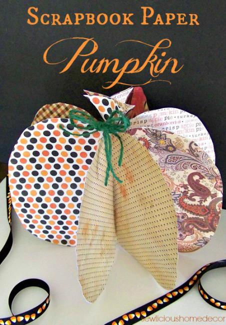 Halloween Scrapbook Paper Pumpkin Crafts sewlicioushomedecor.com.jpg