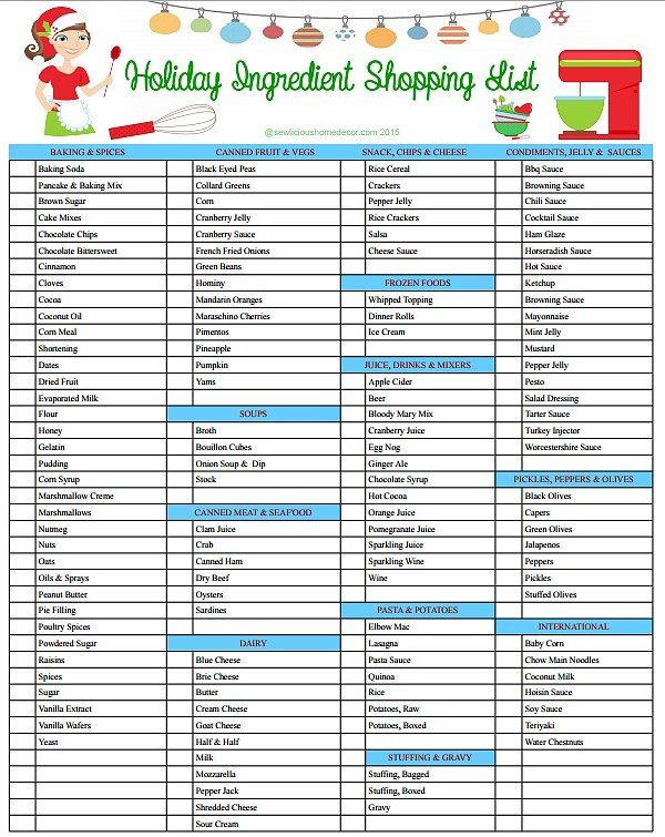Holiday Ingredient Shopping List at sewlicioushomedecor.com