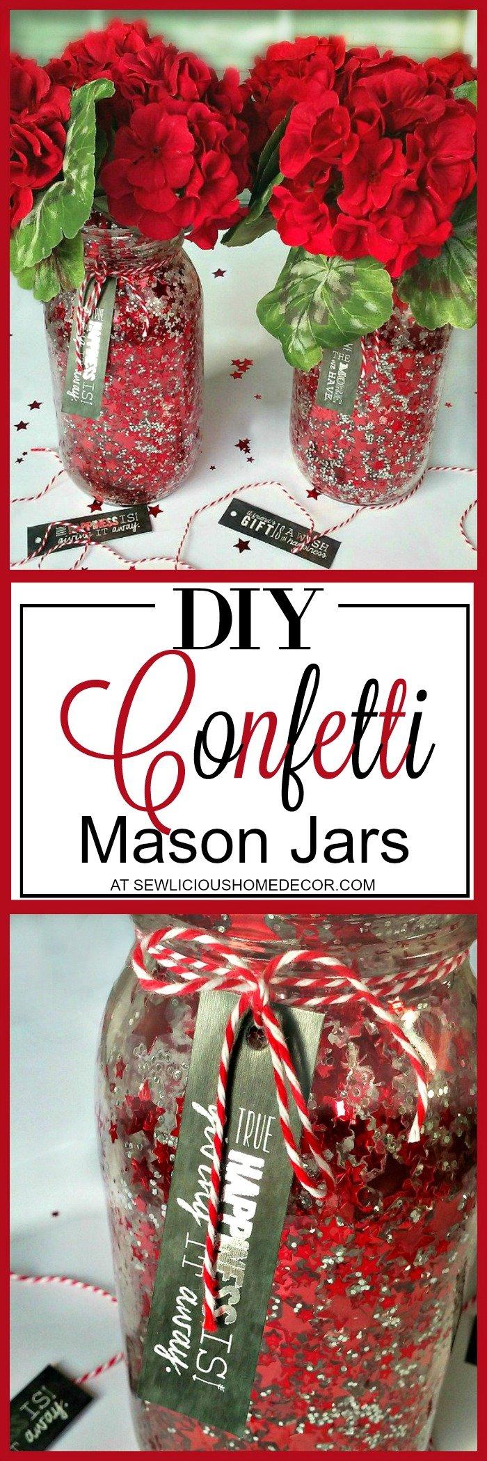 DIY Confetti Mason Jar Crafts at sewlicioushomedecor.com