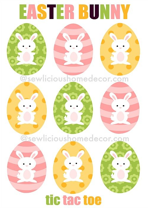 Easter Bunny Tic Tac Toe Cards at sewlicioushomedecor.com