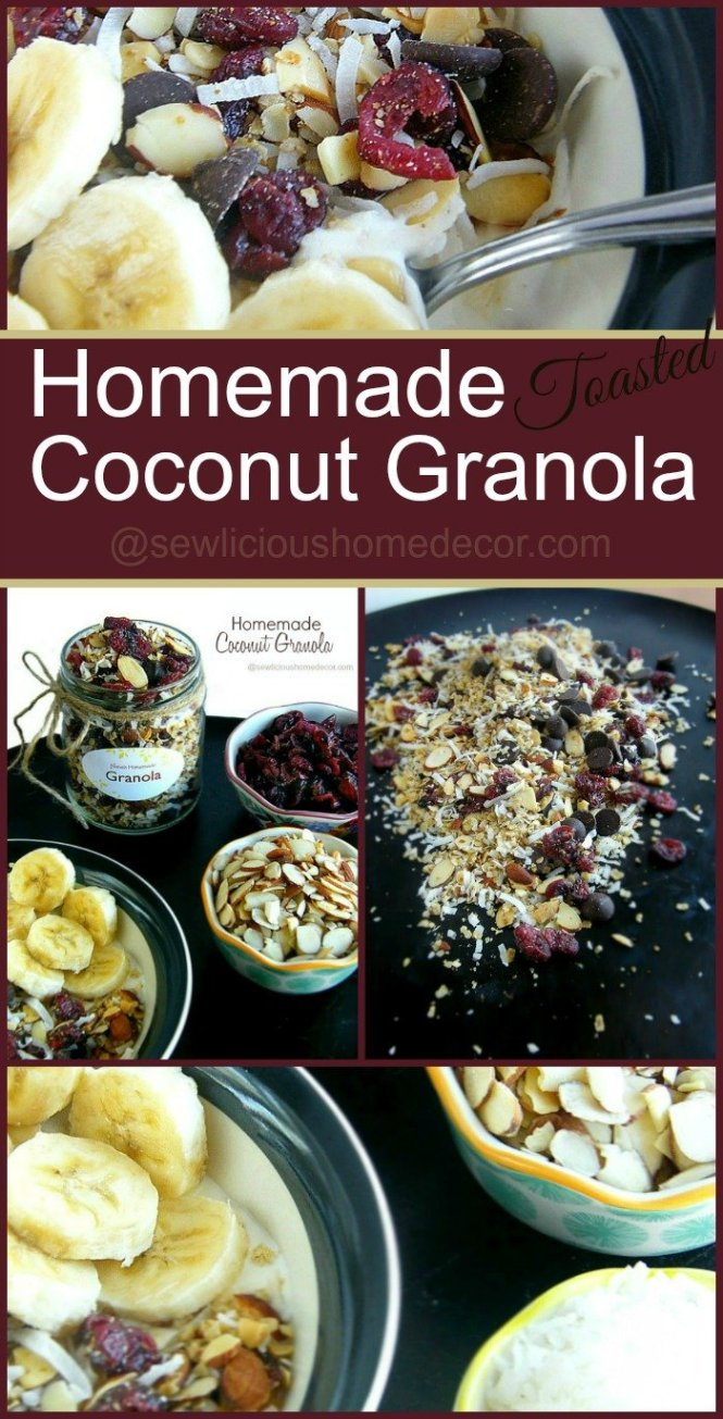 Homemade Toasted Granola at sewlicioushomedecor.com. Top your favorite yogurt with this delicious granola and add fruit for a healthy snack.