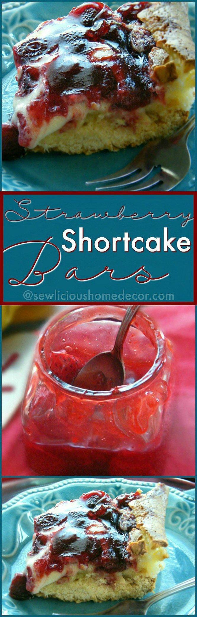Strawberry Cheesecake Shortcake Bars. sewlicioushomedecor.com