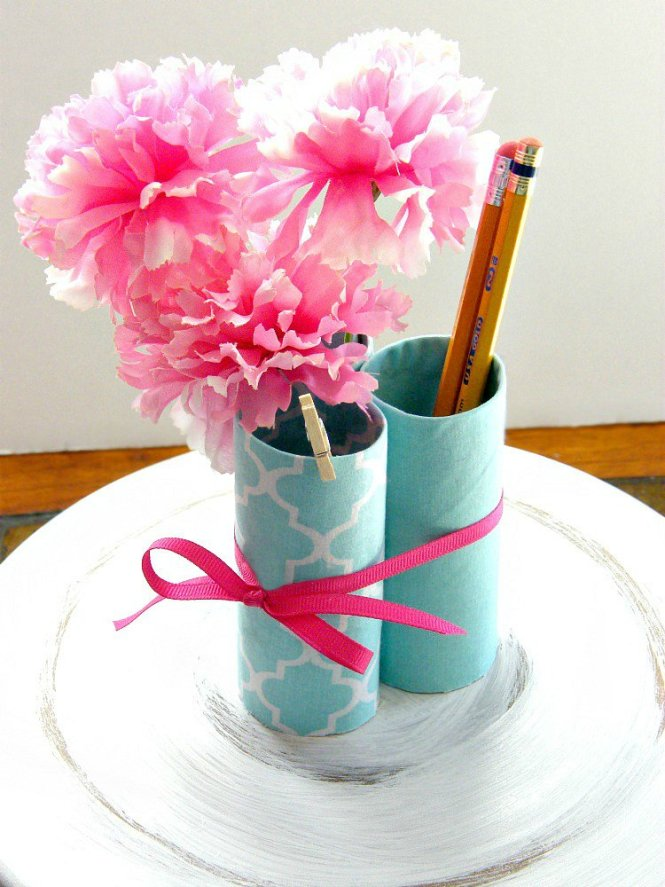 Recycled Office Desk Organizer made with toilet paper rolls covered with fabric at sewlicioushomedecor.com