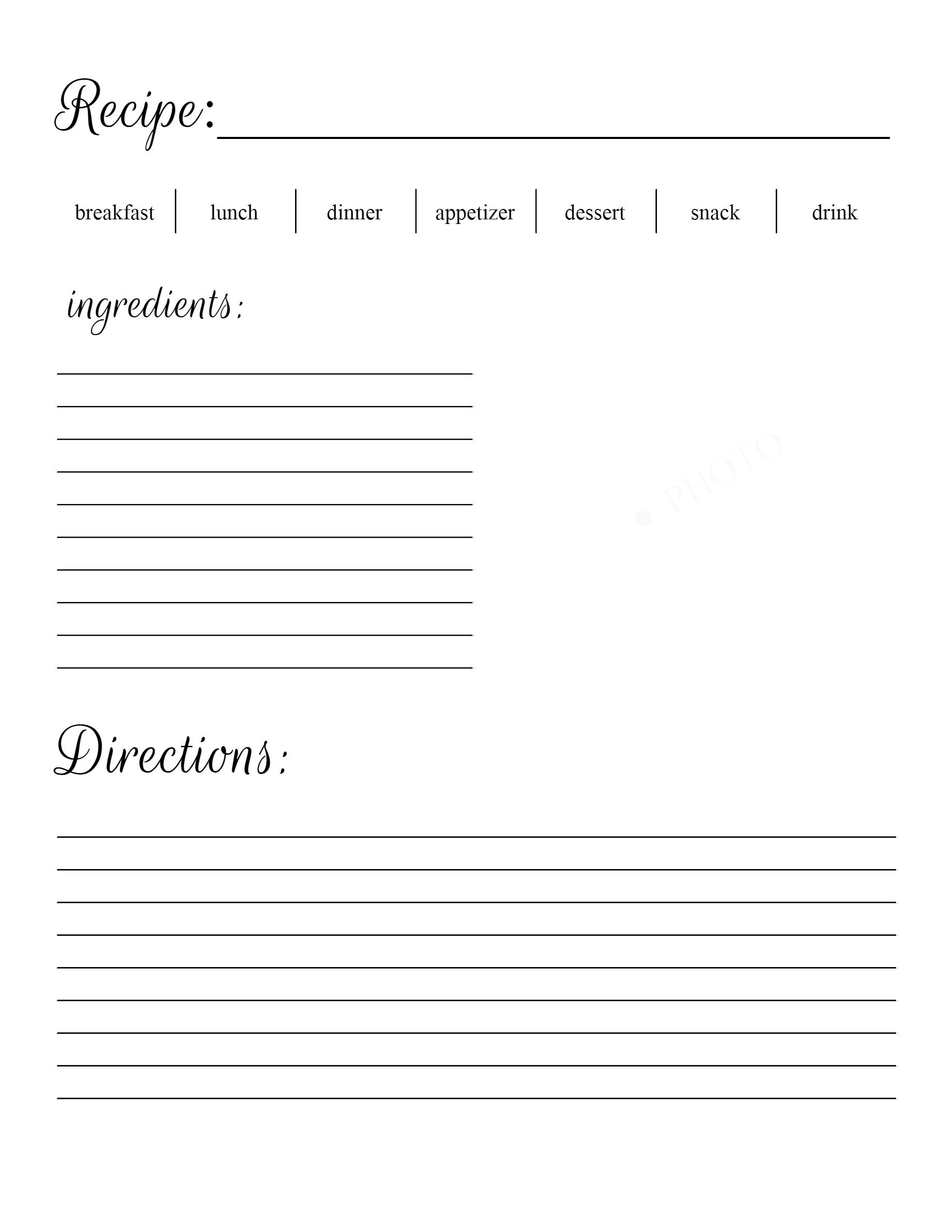 Recipe Free Printable