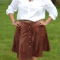Simplicity 8019 and Jalie 3461 Eleonore Jeans: DIY Real Suede Leather Button Front Skirt and Red Jeggings