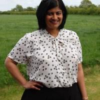 Pauline Alice Reina Shirt:DIY Button Front Tie Neck Blouse