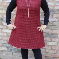 Vintage Style Pattern 3247: DIY Wool Cashmere Mini Houndstooth Pinafore Jumper Dress