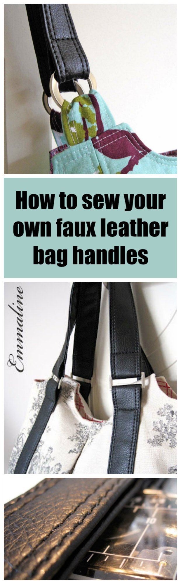 This is the ULTIMATE tutorial for how to make your own faux leather handbag straps and handles.  No thick layers, no raw edges - just perfect (and cheap) bag handles you make yourself.