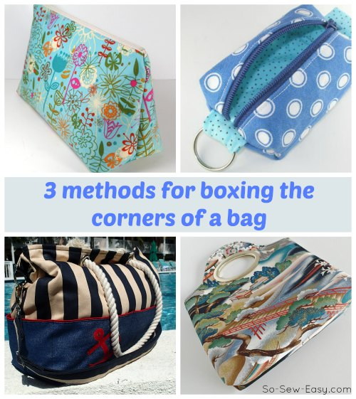 Video tutorial for three different methods you can use to box the corners and create a flat bottom to your bag. I'd never seen method number 3 before but can't wait to try it!