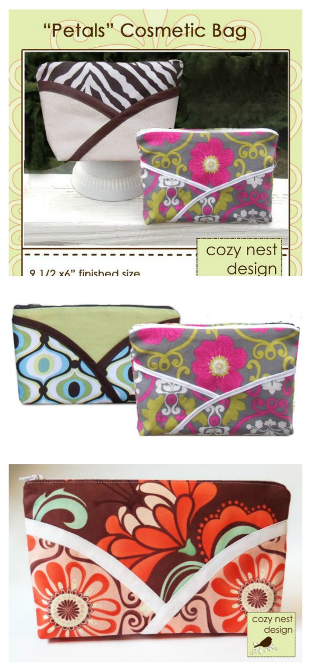 Free sewing pattern for pretty 'Petals' zipper cosmetics bag.
