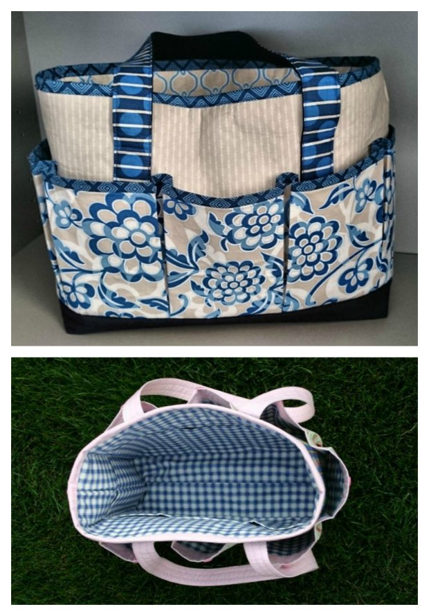 The perfect bag to sew for crafters. My mother-in-law knits and says this is the best knitting bag ever. Lots of roomy pockets inside and out, optional drawstring top you can add.