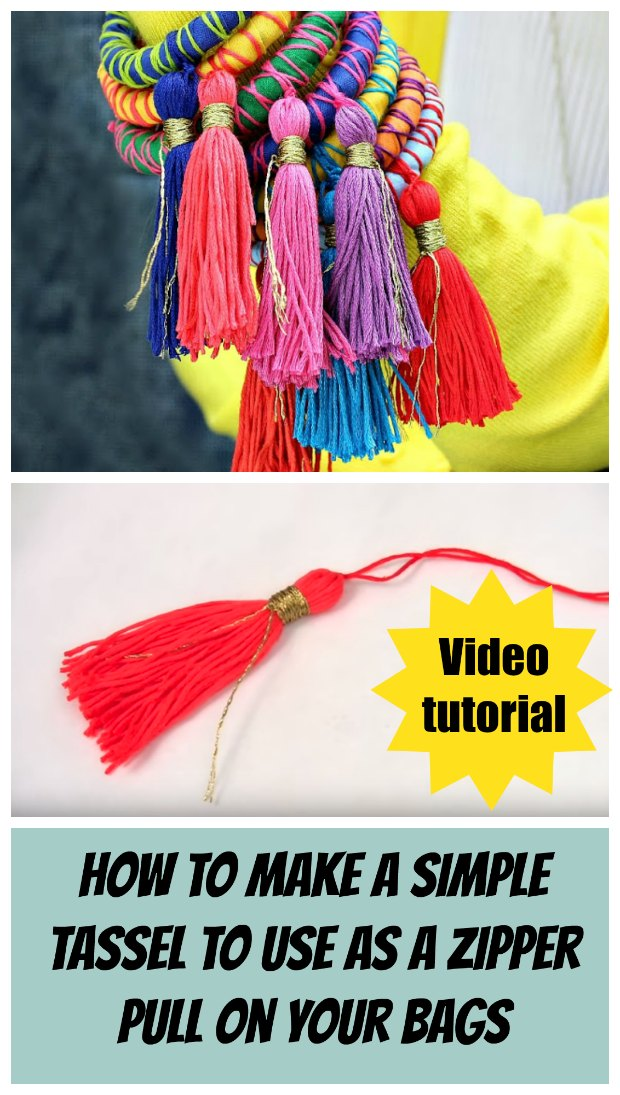 How to make very quick and easy tassels from embroidery floss.  I love to make these for adding to the zipper pulls on my bags and it's SO quick, and I have a new tassel in any color I want to match my bag!