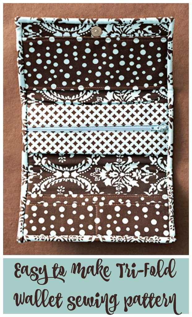 Instructions and free sewing pattern for this ladies tri-fold easy to make wallet. Also has a matching checkbook cover too.