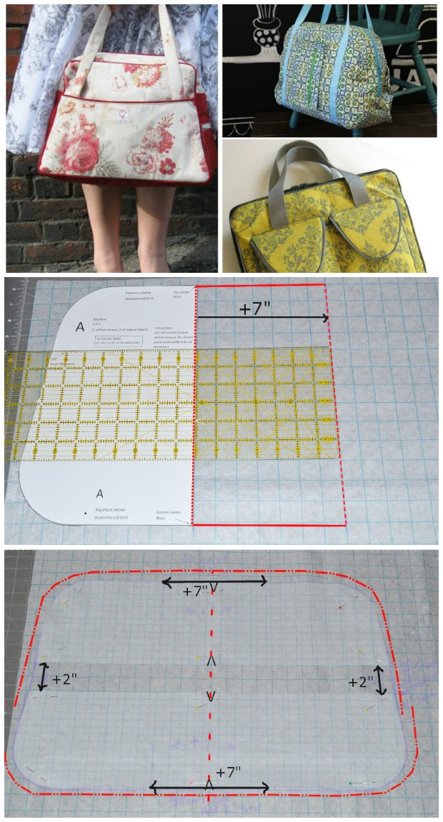 Easy step by step photo tutorial for how you can adjust existing bag sewing patterns to change their size and shape to suit what you need. I had no idea it was so easy so now I can actually design my own bags!