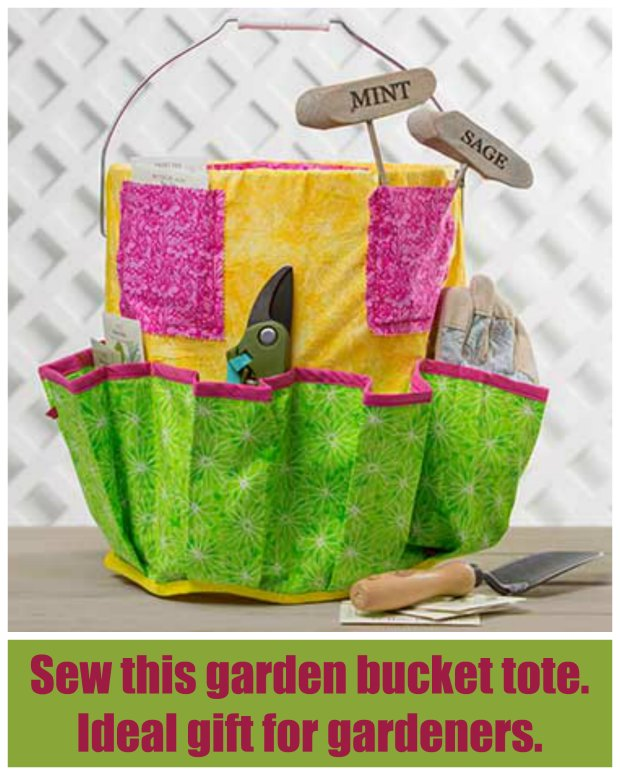 Free tutorial on how to make this garden bucket toe. I made one for my Mom and you would think it was the best thing I'd ever done for her. She loves it!