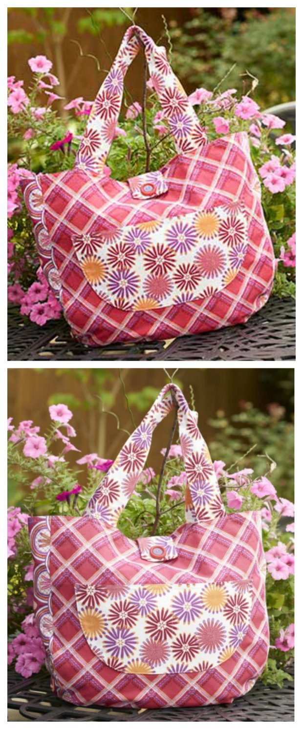 "The ""Well Rounded' Tote bag - free sewing pattern. All the features you need without being complicated to sew. Great instructions."