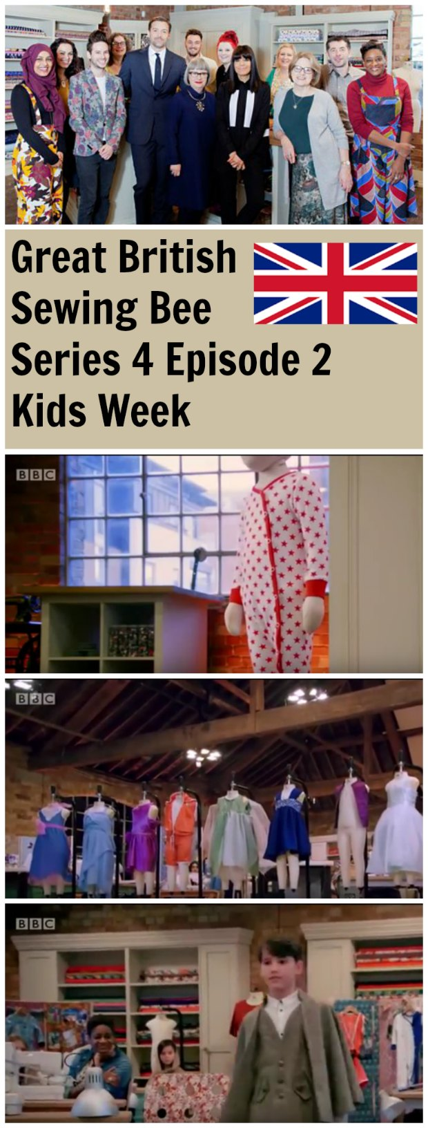 Episode 2 of the Great British Sewing Bee - and it's Kids Week, so the contestants are sewing a onesie, a kids garment from an old prom dress and a child's made to measure cape. Full video episode to watch.