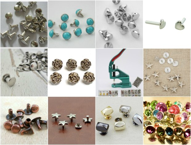 Different types, sizes, styles, colors of rivets.  As found on Etsy.