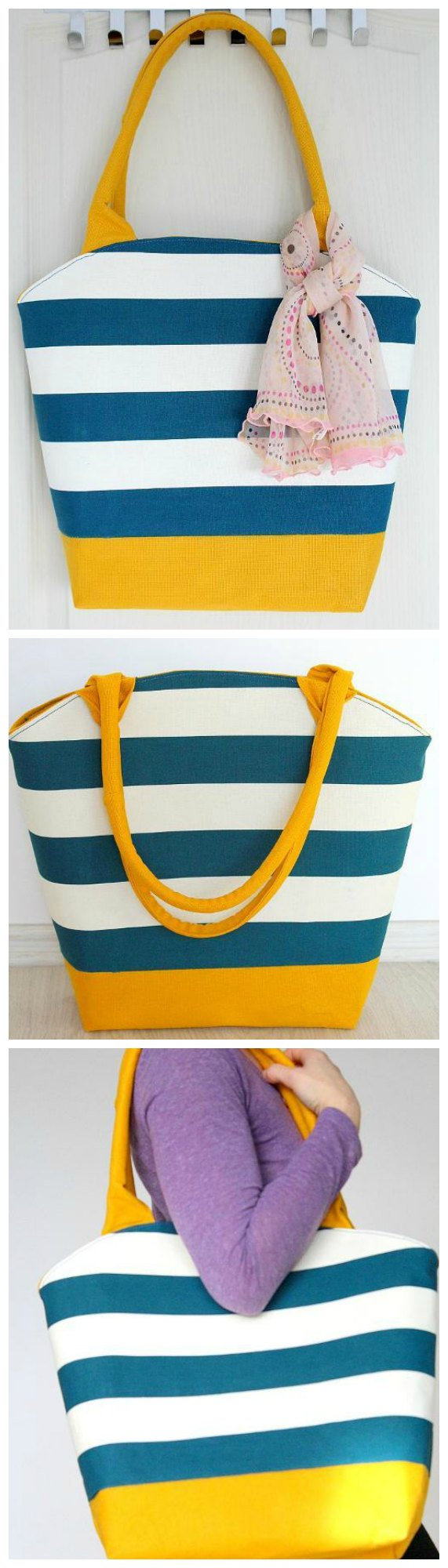 Free sewing pattern. The perfect summer tote, or large purse. With a zipper across the curved top, this tote is practical and simple - yet with the right fabric it can look stunning!