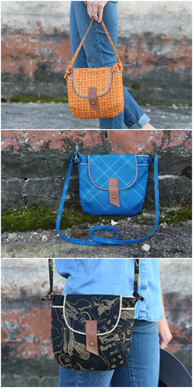 Gatherer Cross Body Bag - free bag sewing pattern. Love this neat little bag. Great instructions. The piping really gives it a nice edge.