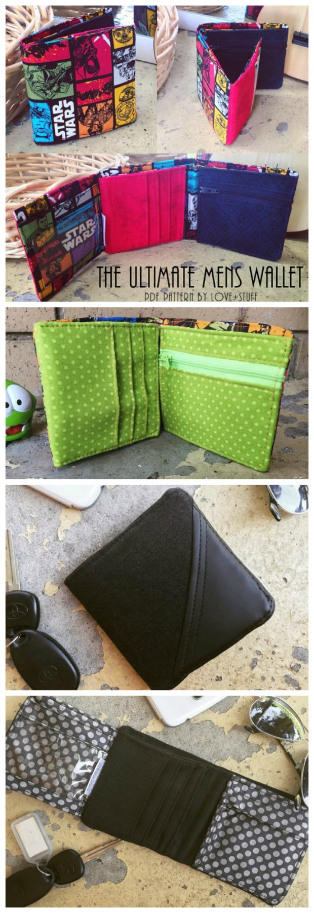 You don't see many men's sewing patterns so I jumped at the chance to make my guy a wallet.  He loves it !