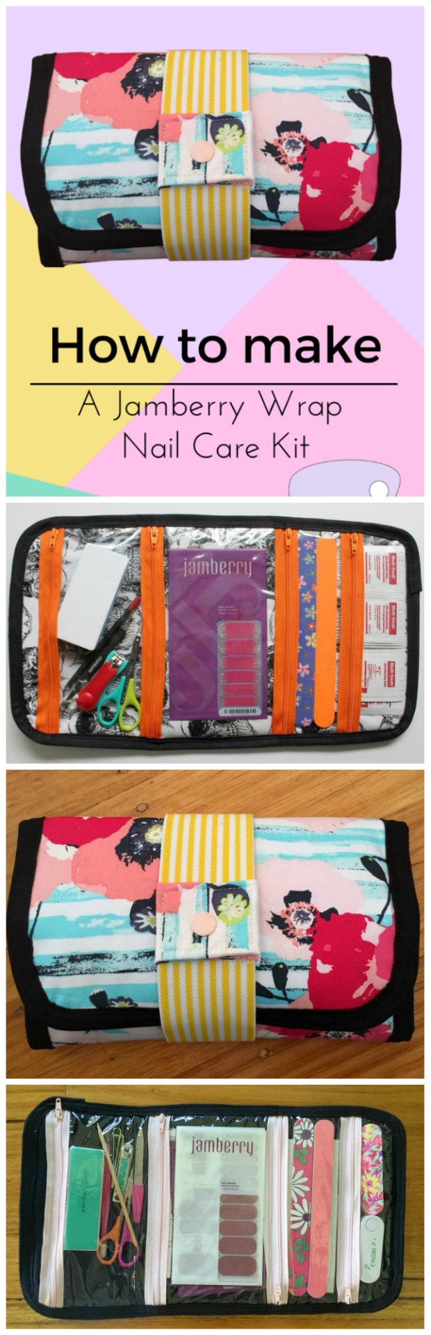 Free sewing pattern/tutorial for how to sew this cute manicure and nailcare bag, perfect for nail wraps and stickers, and perfect for teenage girls!