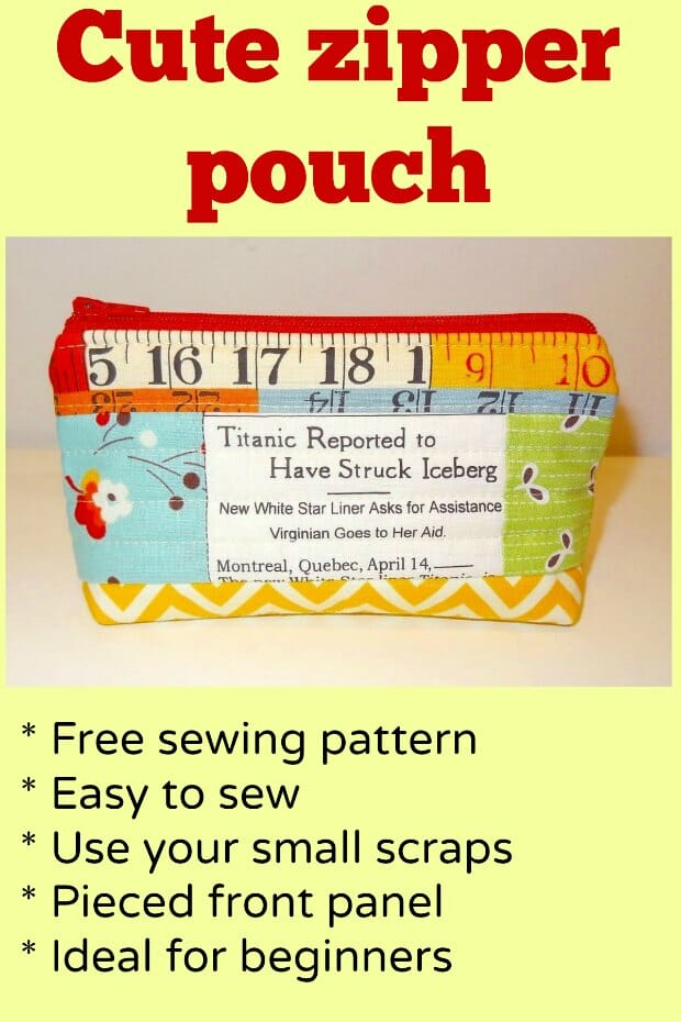 Free sewing pattern for simple zipper pouch - I love the pieced front on this one. I've got lots of fabric scraps that aren't big enough for anything else so I'm going to give this cute bag a try. Looks easy.
