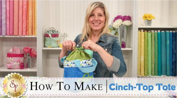 Video tutorial for how to sew a cinch top tote bucket with handles.  Free sewing pattern.