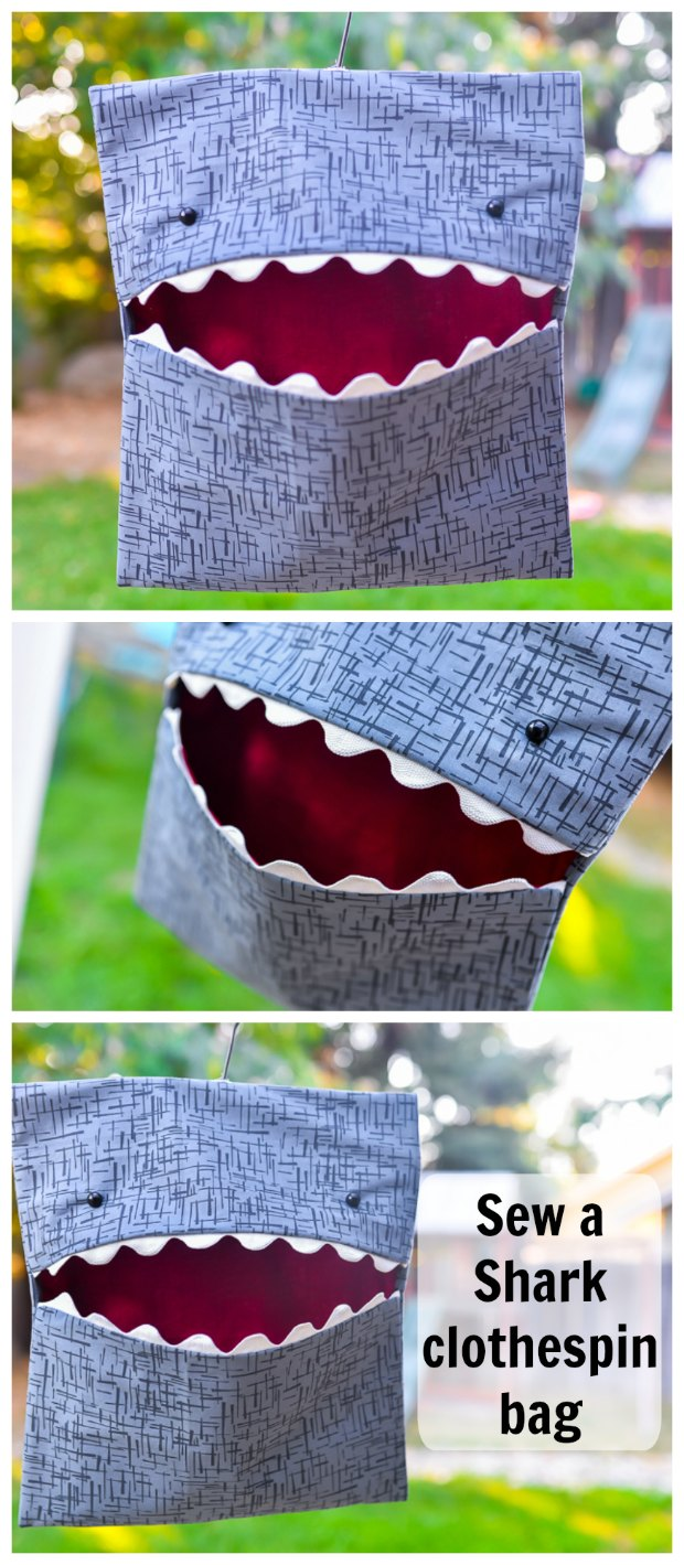 Quick and easy sew - tutorial for how to make this fun shark clothespin bag