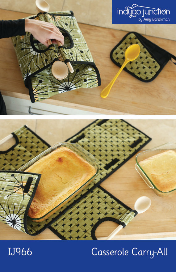 Casserole carrier sewing pattern. For square or rectangular dishes in the same pattern. Also include matching pot holder.