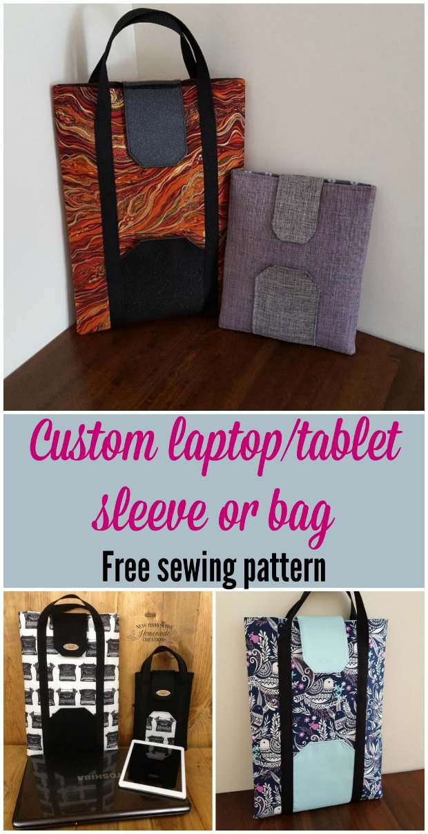 Sleeve or bag for your tablet or laptop, free sewing pattern. Add your size into the simple calculator to get the sleeve size that's perfect for your device.