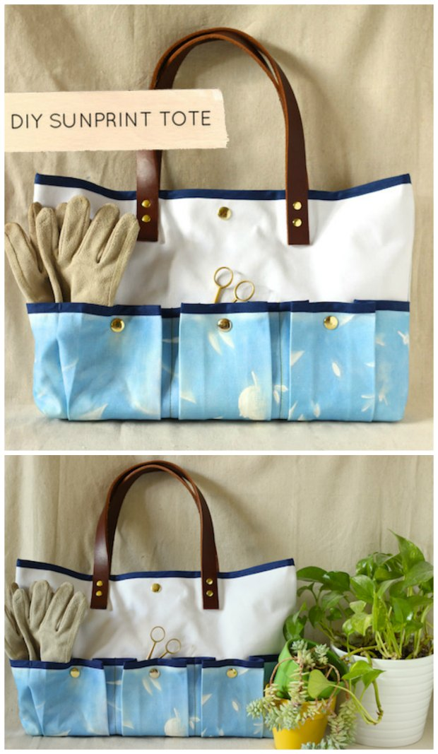Free sewing pattern.  Garden or craft tote bag.  Simple to make and even shows how you can dye your own fabric too.