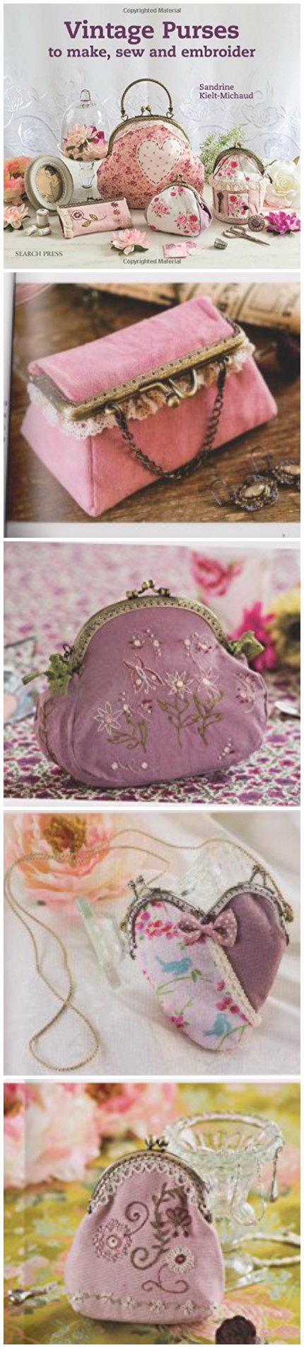 Ideas, patterns and inspiration for how to sew vintage style purses and bags. Sewing book.