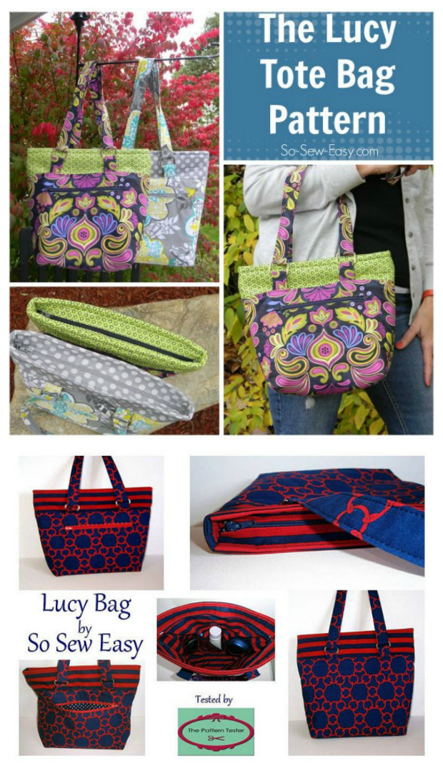 174f038f8 Lucy Tote Bag pdf downloadable sewing pattern. This stylish tote bag, for  intermediate sewers