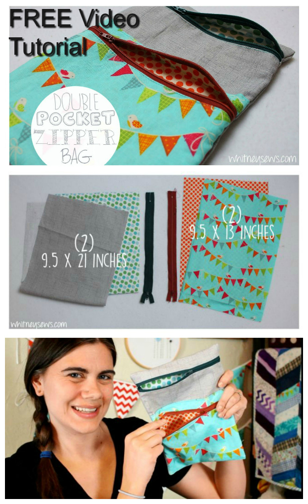 Watch this excellent 6-minute FREE step-by-step tutorial video and learn how to make an easy double pocket lined zipper bag. You will end up with a bag with two separate lined pockets, one small and one large, each with its own zipper