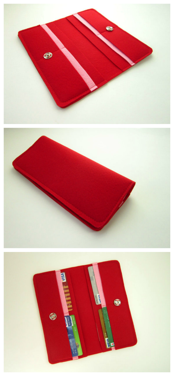 "If you want to make a nice simple and easy felt wallet then this is the project for you. The PDF downloadable pattern and instructions with pictures at each step show you how to make this beginner wallet. If you choose you can make the wallet from fabric or leather. The finished size of the wallet is 8"" wide by 4"" high."