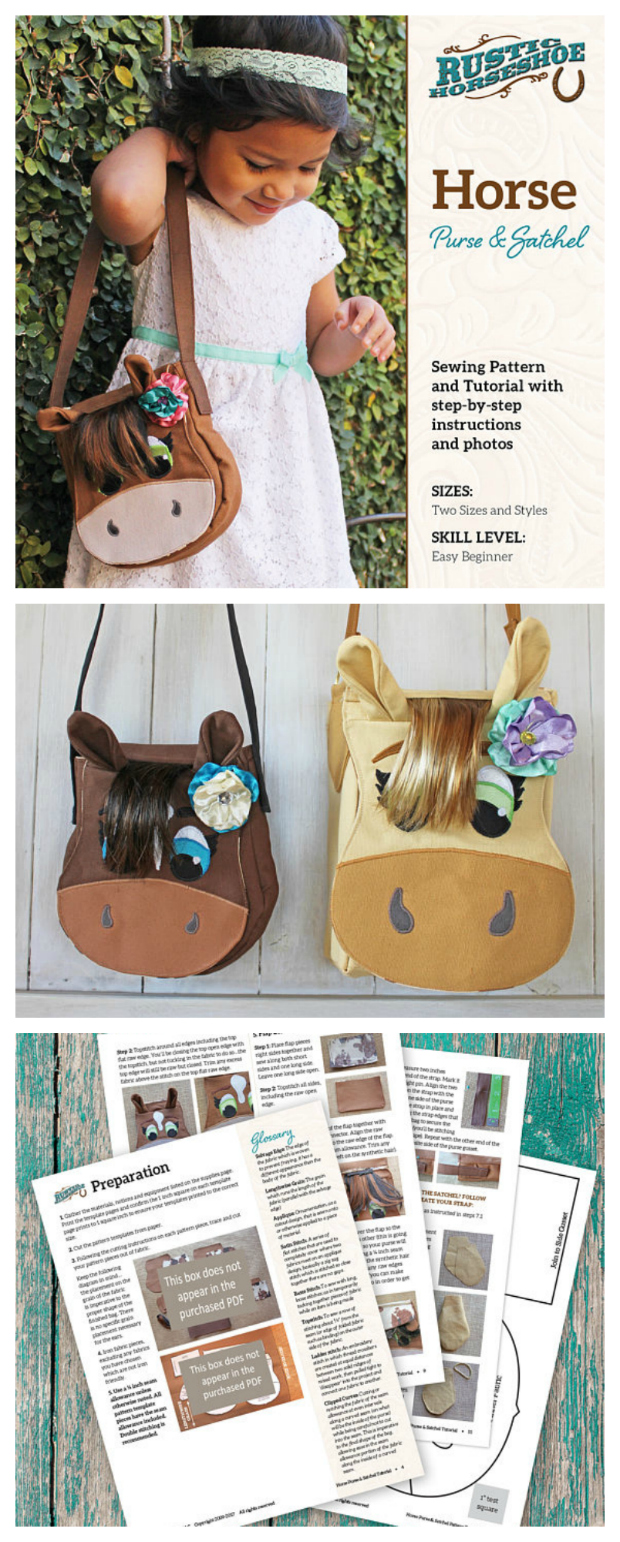 If you are looking to make the cutest of bags then look no further than this amazing Horse Purse and Satchel Bag pdf sewing pattern that has been designed as a beginner sewer project. The pattern includes instructions on how to make both the purse and the satchel. If you decide to make the satchel then it is large enough to hold small books.