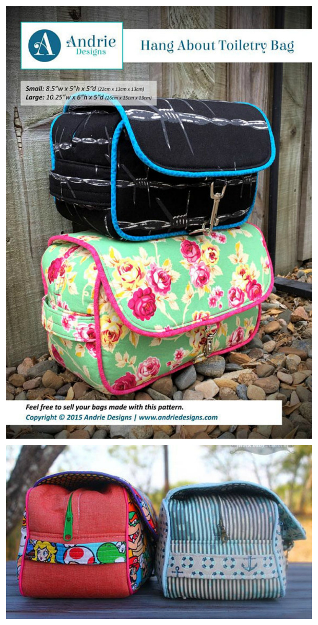 Here is a very simple yet functional toiletry bag, named the Hang About Toiletry Bag. The great thing about this toiletry bag is it is unisex, perfect for both men and women and the PDF downloadable pattern comes in two sizes, small and large. The bag has one main compartment and two smaller zipper pockets, as well as carrying handles on either end of the bag.