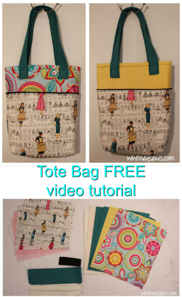 Learn how to sew a beautiful lined tote bag with outer pockets on both the front and back with this outstanding FREE video tutorial. You can use up to five different fabrics on this Tote Bag if you really want it to stand out. And to really make the colors stand out the tutorial shows you how to add piping at the top edges.