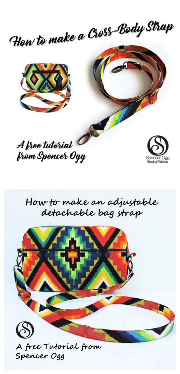 "Here's a great FREE tutorial on how to make a detachable and adjustable bag strap. The tutorial includes three pages of full-colour tutorial style instructions with detailed photos. It will take you no time at all to read through the tutorial and make a professional looking bag strap that will have approximate finished dimensions of 47"" by 0.75""."