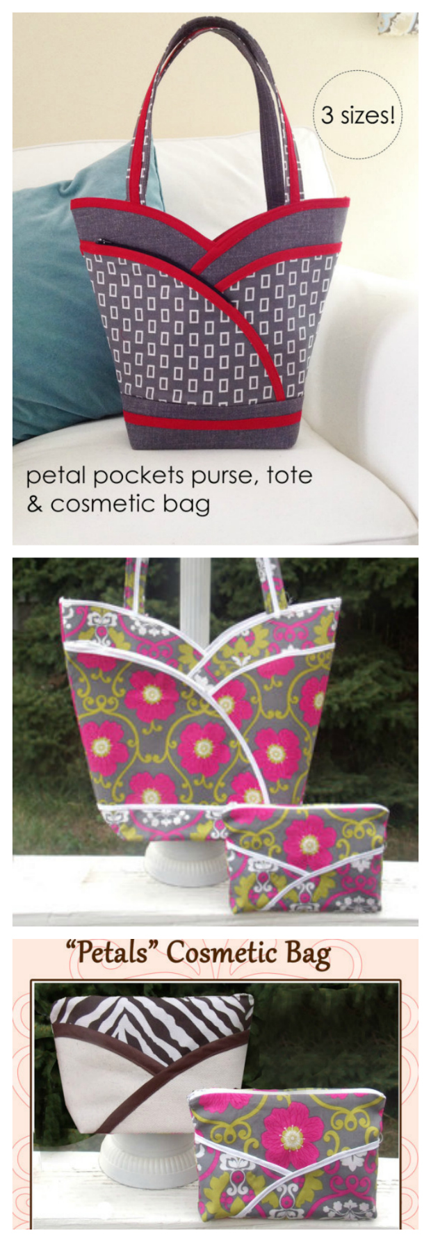 "Look at this beautiful-looking Tote Bag that comes in two sizes, is reversible and has a matching cosmetics bag as well. The Petal Purse Tote Bag has loads of storage space. It has four slip pockets, two zippered ""petal"" pockets on the exterior and a nice roomy interior."