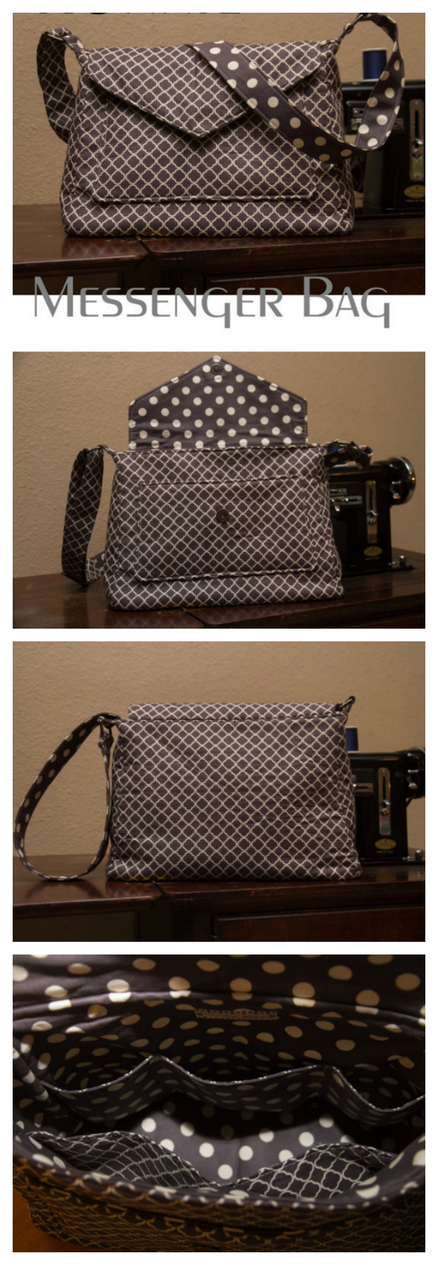"""The Ronnie Messenger bag is aimed at an advanced beginner sewer and is an easy bag to make. Ronny is roomy and has lots of pockets meaning it can store all your necessary items. When finished Ronnie is 11 1/2"""" wide at the top, 13"""" wide at the bottom, 9 1/2"""" tall and 5"""" deep."""
