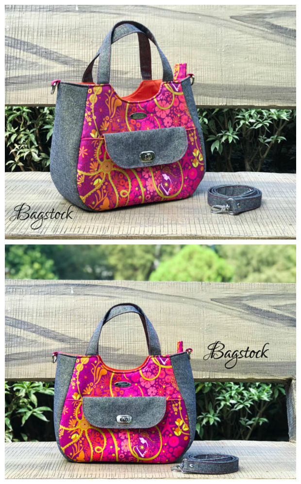 "The Ruby Handbag pdf sewing pattern will make you an awesome all-purpose handbag. The Ruby has a total of 4 pockets, an exterior slip pocket on the bag flap, two slip pockets in the lining and a zippered pocket also in the lining. To keep the bag's contents secure the Ruby has a zip top closure. The Ruby can be completed by an advanced beginner sewer and the final measurements are 12"" wide by 10"" high by 5.5"" deep."