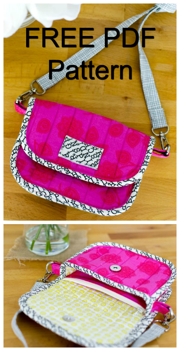 """Here is yet another FREE pdf pattern brought to you by Sew Modern Bags. This one is a little clutch bag pattern, which has a zipper pouch inside this little bag. You can fit an iPhone in the little pocket behind the integrated zipper pouch, and then you'll have a nice sized compartment in front of the zipper pouch for keys, lip gloss and a little notebook. If you want your clutch bag can also carry cards and cash in the zipper pouch. The approximate size of the finished bag will be 7'"""" wide by 4 1/2"""" tall."""